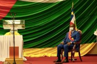 """""""The fight against impunity will be the backbone of my second term,"""" said Central African President Faustin-Archange Touadéra at his inauguration ceremony (photo) on 30 March in Bangui. © Camille Laffont / AFP"""