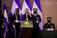El Salvador's president, Nayib Bukele, speaks during a military ceremony to commemorate Salvadoran Soldier Day in Antiguo Cuscatlán on May 7. (Jose Cabezas/Reuters)