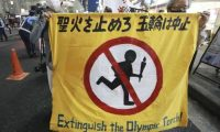 Protesters march in Tokyo last week to call for the cancellation of the Olympics. Photograph: Koji Sasahara/AP