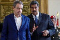 El expresidente español José Luis Rodríguez Zapatero, a la izquierda, y el presidente venezolano, Nicolás Maduro, en mayo de 2018 en Caracas. Credit Cristian Hernandez/EPA vía Shutterstock