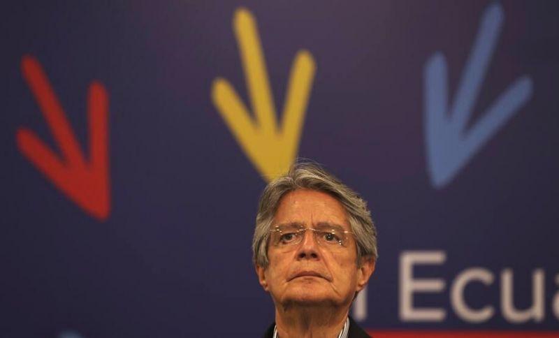 El presidente electo de Ecuador, Guillermo Lasso, en una conferencia de prensa el 12 de abril de 2021. (Dolores Ochoa/AP Photo)
