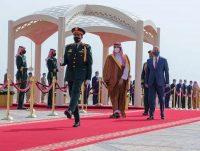 Saudi Crown Prince Mohammed bin Salman accompanies Iraqi Prime Minister Mustafa al-Kadhimi on his arrival to Riyadh International Airport in Saudi Arabia on March 31. (Bandar Aljaloud/Saudi Royal Palace/AP)