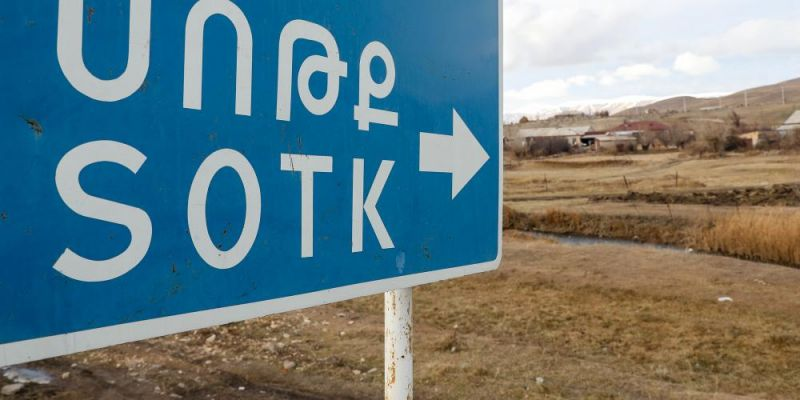 Sign to the Armenian village of Sotk on the border with Kalbajar District, now in control of Azerbaijan via the 2020 ceasefire agreement between Armenia, Azerbaijan, and Russia. Photo by Alexander Ryumin\TASS via Getty Images.