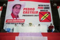 Peru's socialist presidential candidate Pedro Castillo attends a news conference in Iquitos, Peru, on Monday. (Liz Tasa/Reuters)