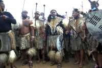 Prince Misuzulu Zulu, center, flanked by fellow warriors in traditional dress at the KwaKhangelamankengane Royal Palace, during a ceremony, in Nongoma on May 7. (AP Photo) (AP)