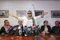The dissident FARC rebel leader known as Jesús Santrich, during a news conference in 2019 in Bogota, Colombia. Santrich was reportedly killed in Venezuela on Monday. (Fernando Vergara/AP)