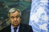 U.N. Secretary General António Guterres at a news conference in Moscow on Wednesday. (Maxim Shemetov/Reuters)