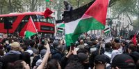 Thousands of people attend an emergency rally in solidarity with the Palestinian people outside Downing Street, on 11 May 2021 in London, United Kingdom. Photo by Mark Kerrison/In Pictures via Getty Images.