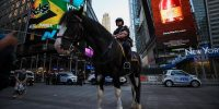 Police horse in Times Square, New York City on the day it was announced fully vaccinated people no longer have to wear masks in most circumstances. Photo by Tayfun Coskun/Anadolu Agency via Getty Images.