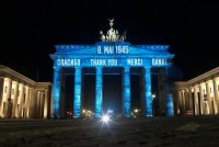 Brandenburg Gate in Berlin last year on the 75th anniversary of Victory in Europe Day. Credit Markus Schreiber/Associated Press