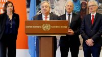 United Nations Secretary-General Antonio Guterres, flanked by senior Swedish, Swiss and UN officials, addresses a news conference after the High-Level Pledging Event for the Humanitarian Crisis in Yemen, in Geneva, Switzerland, April 3, 2018. REUTERS/Pierre Albouy