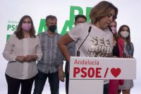Susana Díaz en la sede del PSOE-A, tras las primarias celebradas este domingo.PACO PUENTES