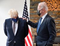 Prime Minister Boris Johnson of Britain and President Biden in Cornwall, England, on Thursday. Despite all the havoc Mr. Johnson's Conservatives have caused, the party is in a stronger position than ever. Credit Pool photo by Toby Melville