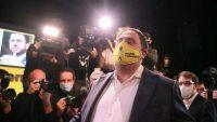 Oriol Junqueras, líder de ERC, durante un acto de campaña