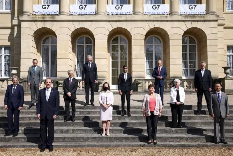 Finance ministers pose for photos during a gathering of Group of Seven in London on June 5. (Henry Nicholls/Reuters/Pool)