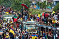 The Indigenous Minga of the Cauca Region protects protesters from police in the city of Cali, Colombia, on May 12. Used with permission. (Luis Carlos Ayala.) (Luis Carlos Ayala)