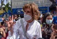 Cristiana Chamorro, exdirectora de la Fundación Violeta Barrios de Chamorro y candidata presidencial de Nicaragua, tras declarar en el Ministerio del Interior por presunto lavado de activos, el 20 de mayo de 2021. (Inti Ocon/AFP)
