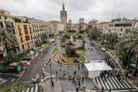 La plaza de la Reina en Valencia, el pasado abril, antes de comenzar las obras de peatonalización.Rober Solsona / Europa Press
