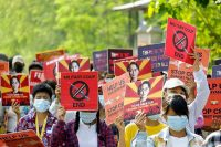 Protestas en Kale, Myanmar.HANDOUT / afp
