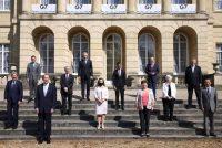 Ministros de finanzas posan durante una reunión del Grupo de los Siete en Londres, el 5 de junio de 2021. (Henry Nicholls/Reuters/Pool)
