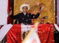 Peruvian presidential candidate Pedro Castillo addresses supporters in Lima in June 8. (Sebastian Castaneda/Reuters)