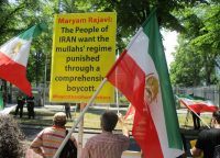 On Thursday, the eve of the presidential election in Iran, supporters of the N.C.R.I., the main Iranian opposition group, protested outside the Iranian Embassy in Berlin. Siavosh Hosseini/NurPhoto, via Getty Images