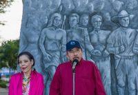 Rosario Murillo, vicepresidenta de Nicaragua, y el presidente Daniel Ortega, en un discurso el 23 de junio de este año. Credit Agence France-Presse — Getty Images