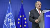UN Secretary-General António Guterres speaks during a joint press conference with EU Commission president after their bilateral meeting at the EU headquarters in Brussels on 16 May 2018. JOHN THYS / AFP