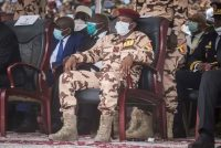 Mahamat Idriss Déby, son of late Chadian President Idriss Déby, attends his father's state funeral in N'Djamena, Chad, on April 23. (Christophe Petit Tesson/Reuters)