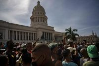 People protest in front of the capitol in Havana, Cuba on July 11. (Ramon Espinosa/AP)