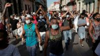 Una movilización de manifestantes en La Habana
