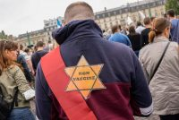 A protester at an anti-vaccine rally in Paris on July 17. (Michel Euler/AP)