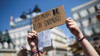 Mensaje mostrado durante una manifestación de la Confluencia Movimiento Feminista en Madrid