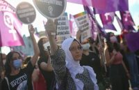 Women protest the government's decision to withdraw from the Istanbul Convention in Istanbul on July 4. (Emrah Gurel/AP)