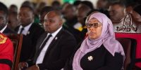 Tanzania president Samia Suluhu attends a service honouring her predecessor John Magufuli in Chato, Tanzania. Photo by Luke Dray/Getty Images.