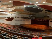The Aula Magna, an indoor concert hall at the Central University of Venezuela, where the sculptor Alexander Calder shaped the hall's acoustic screens like clouds in 1953. Credit Félix León Carrillo
