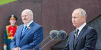Belarus president Aliaksandr Lukashenko and Russia president Vladimir Putin attend a ceremony together to unveil the Rzhev Memorial to the Soviet Soldier near the village of Khoroshevo, Russia. Photo by Mikhail Klimentyev\TASS via Getty Images.