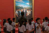 El Museo de Arte Nacional de Pekín exhibe este año una muestra para celebrar los cien años del Partido Comunista de China. Credit Gilles Sabrié para The New York Times