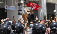 'Many Tunisians – or at least the ones in the streets in the last few days – seem to have a more ambivalent relationship with democracy.' Anti-government protests in Tunis, 25 July 2021. Photograph: Fethi Belaid/AFP/Getty Images