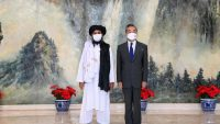 Chinese State Councilor and Foreign Minister Wang Yi meets with Mullah Abdul Ghani Baradar, political chief of Afghanistan's Taliban, in north China's Tianjin, 28 July 2021. Li Ran Xinhua via AFP
