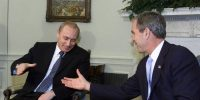 Russian president Vladimir Putin meets US president George W. Bush in the Oval Office at the White House on November 13, 2001. Photo by Mark Wilson/Getty Images.
