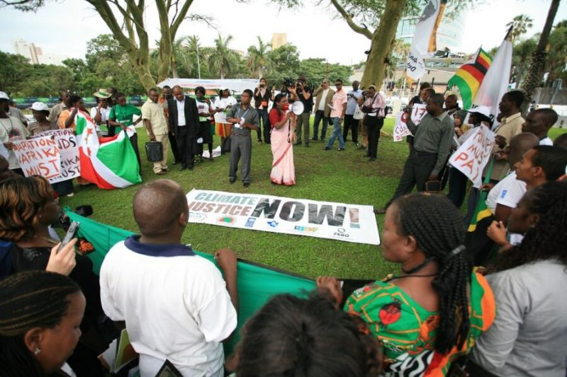 A pan-African solidarity gathering calling for drastic emissions reductions in developed countries. Credit: Luka Tomac.