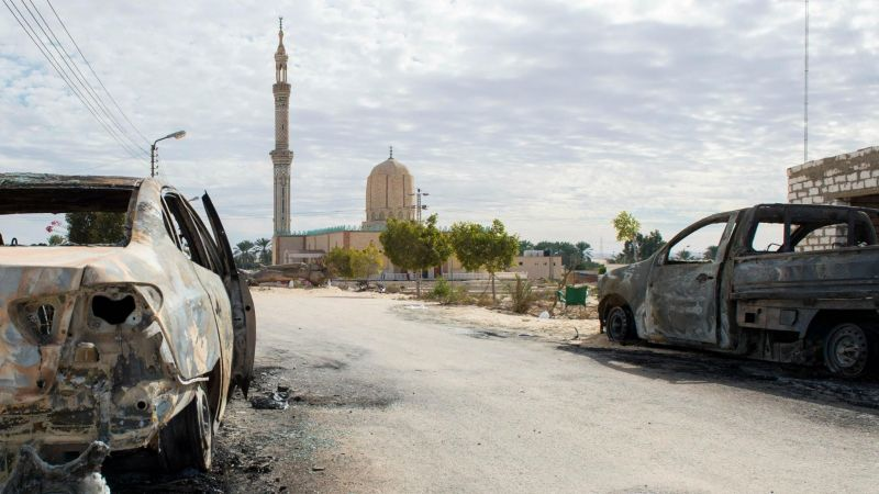 A picture taken on 25 November 25 2017, shows the Rawda mosque, roughly 40 kilometres west of the North Sinai capital of El-Arish, after a gun and bombing attack. STR / AFP