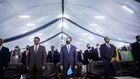 Somalia's President (C), Prime Minister (R), and Speaker of the Somali parliament (L), attend the closing ceremony after reaching an agreement for the new elections at the National Consultative Council on Elections in Mogadishu , on 27 May 2021. Abdirahman Yusuf / AFP