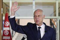Tunisian President Kais Saied delivers a speech during his visit to Sidi Bouzid, Tunisia, on Sept. 20. (Slim Abid/Tunisian presidency/AP)