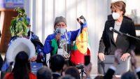La doctora Elisa Loncón da un discurso tras ser electa presidenta de la convención constituyente de Chile, el 4 de julio pasado..JAVIER TORRES / AFP