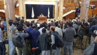 Press members and Taliban officials are seen as Taliban spokesperson Zabihullah Mujahid holds a press conference in Kabul, Afghanistan on 7 September 2021. Mullah Mohammad Hasan Akhundzada is announced to lead Taliban's administration in Afghanistan. Sayed Khodaiberdi Sadat / Anadolu Agency via AFP
