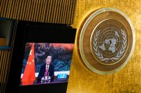 Chinese President Xi Jinping speaks via videoconference to the U.N. General Assembly on Sept. 21. (Mary Altaffer/Pool via Reuters)