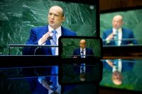 Naftali Bennett, Israel's prime minister, speaks at the United Nations General Assembly via live stream on Sept. 27. (Michael Nagle/Bloomberg)