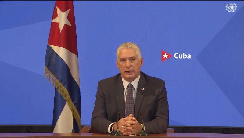 El presidente de Cuba, Miguel Díaz-Canel, habla desde un mensaje pregrabado que fue reproducido durante la Asamblea General de la ONU el lunes 20 de septiembre de 2021. (UNTV vía AP) (AP)